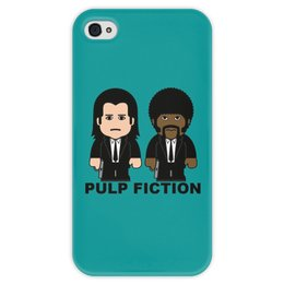 """Чехол для iPhone 4 глянцевый, с полной запечаткой """"Pulp Fiction"""" - культовое кино, джон траволта, сэмюэл лерой джексон, тарантино, криминальное чтиво"""