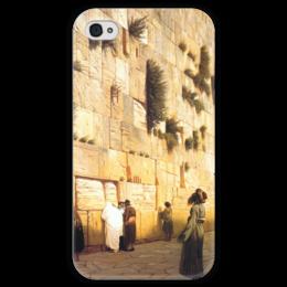 """Чехол для iPhone 4 глянцевый, с полной запечаткой """"Стена Плача (Жан-Леон Жером)"""" - картина, жером"""