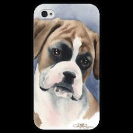 """Чехол для iPhone 4 глянцевый, с полной запечаткой """"boxer"""" - немецкий боксер, boxer, dog, puppy, щенок"""