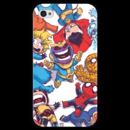 """Чехол для iPhone 4 глянцевый, с полной запечаткой """"Comics Art Series: Танос ликует"""" - рисунок, супергерои, марвел, superhero, танос"""