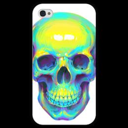 "Чехол для iPhone 4 глянцевый, с полной запечаткой ""Colorfull skull"" - skull, череп, поп арт, pop art"