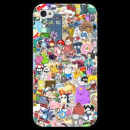 "Чехол для iPhone 4 глянцевый, с полной запечаткой ""STICKERS"" - арт, дизайн, фэн-арт, мульт, аниме"