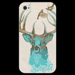 """Чехол для iPhone 4 глянцевый, с полной запечаткой """"Олень"""" - арт, птицы, birds, олень, рога, deer, horns"""