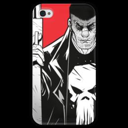 """Чехол для iPhone 4 глянцевый, с полной запечаткой """"Каратель (The Punisher)"""" - комиксы, марвел, daredevil, сорвиголова, дардеви"""