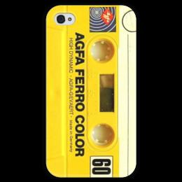 """Чехол для iPhone 4 глянцевый, с полной запечаткой """"Аудио кассета"""" - ретро, 80's, компакт кассета"""