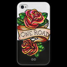 """Чехол для iPhone 4 глянцевый, с полной запечаткой """"One road 4"""" - цветы, олд скул, розы, tm kiseleva, одна дорога, один путь, roses"""