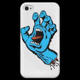 """Чехол для iPhone 4 глянцевый, с полной запечаткой """"Santa Cruz"""" - santa, cruz, рука со ртом"""