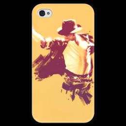 "Чехол для iPhone 4 глянцевый, с полной запечаткой ""Michael Jackson"" - michael jackson, майкл джексон, арт"