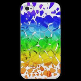 """Чехол для iPhone 4 глянцевый, с полной запечаткой """"Broken rainbow"""" - радуга, rainbow, broken, сломанная"""
