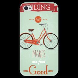 """Чехол для iPhone 4 глянцевый, с полной запечаткой """"Велосипед"""" - велосипед, bike"""