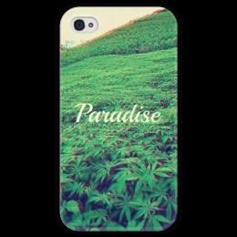 """Чехол для iPhone 4 глянцевый, с полной запечаткой """"Paradise """" - рай, green, зеленый, растения"""
