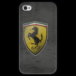 """Чехол для iPhone 4 глянцевый, с полной запечаткой """"Ferrari logo"""" - ferrari, car, nigga"""