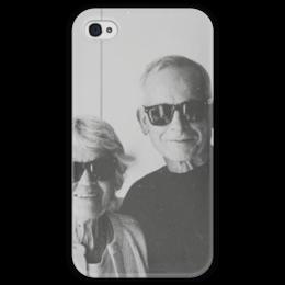 """Чехол для iPhone 4 глянцевый, с полной запечаткой """"Улыбайся """" - ретро, улыбайся, smile, be happy, retro, black n white"""