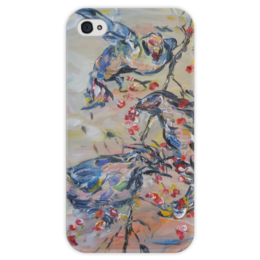 """Чехол для iPhone 4 глянцевый, с полной запечаткой """"Весна"""" - красиво, птички, красные, ветка, ягодки"""