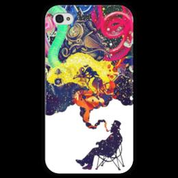 """Чехол для iPhone 4 глянцевый, с полной запечаткой """"Креатив"""" - человек, рисунки, дым, стул, креативное мышление"""