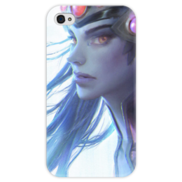 """Чехол для iPhone 4 глянцевый, с полной запечаткой """"Роковая вдова"""" - blizzard, близзард, overwatch, овервотч, widowmaker"""