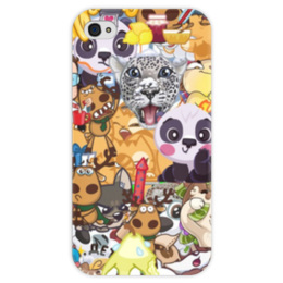 """Чехол для iPhone 4 глянцевый, с полной запечаткой """"стикерs"""" - авторское, вк, стикеры"""