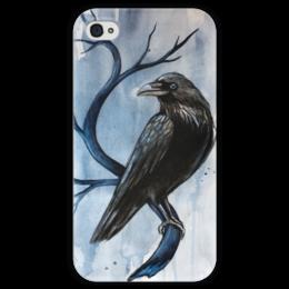 """Чехол для iPhone 4 глянцевый, с полной запечаткой """"Ворон"""" - мрак, смерть, ворон, тьма, raven"""