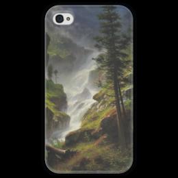 "Чехол для iPhone 4 глянцевый, с полной запечаткой ""Rocky Mountain Waterfall"" - картина, водопад, бирштадт"