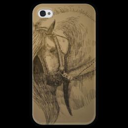 """Чехол для iPhone 4 глянцевый, с полной запечаткой """"Crying friend"""" - horse, лошадь, рисунок"""