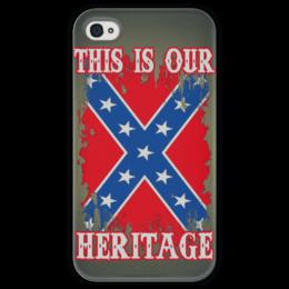 """Чехол для iPhone 4 глянцевый, с полной запечаткой """"Флаг Конфедерации США"""" - война, америка, флаг, сша, флаг конфедерации"""