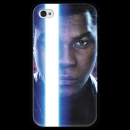 """Чехол для iPhone 4 глянцевый, с полной запечаткой """"Звездные войны - Финн"""" - звездные войны, кино, фантастика, дарт вейдер, star wars"""