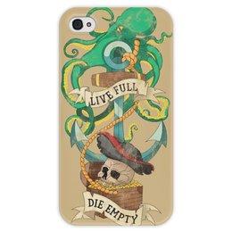 """Чехол для iPhone 4 глянцевый, с полной запечаткой """"Осьминог"""" - татуировка, якорь, пират, old school, череп"""