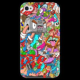 """Чехол для iPhone 4 глянцевый, с полной запечаткой """"Drop the Bassline"""" - монстры, doodle, каракули, dtb"""