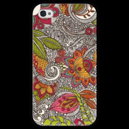 "Чехол для iPhone 4 глянцевый, с полной запечаткой ""Хохлома"" - цветы, узоры, природа, хохлома"