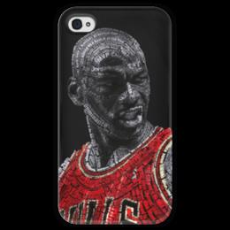 "Чехол для iPhone 4 глянцевый, с полной запечаткой ""Jordan23"" - арт, jordan"