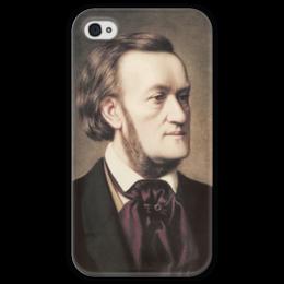 """Чехол для iPhone 4 глянцевый, с полной запечаткой """"Портрет Рихарда Вагнера"""" - картина, виллих"""