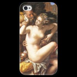"""Чехол для iPhone 4 глянцевый, с полной запечаткой """"Сусанна и старцы"""" - картина, аллори"""