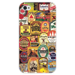 """Чехол для iPhone 4 глянцевый, с полной запечаткой """"Пиво   """" - коллаж, collage, пиво, beer"""