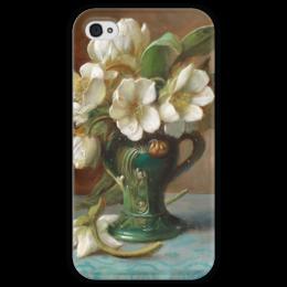 """Чехол для iPhone 4 глянцевый, с полной запечаткой """"Пионы в вазе"""" - картина, зацка"""