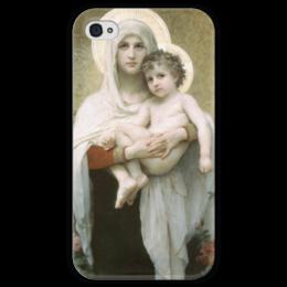 "Чехол для iPhone 4 глянцевый, с полной запечаткой ""Мадонна с розами (La Madone aux roses)"" - картина, бугро"