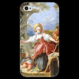 """Чехол для iPhone 4 глянцевый, с полной запечаткой """"Игра в прятки"""" - картина, фрагонар"""