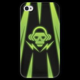 """Чехол для iPhone 4 глянцевый, с полной запечаткой """"Skull"""" - skull, music, dubstep"""