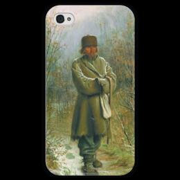 """Чехол для iPhone 4 глянцевый, с полной запечаткой """"Созерцатель (картина Крамского)"""" - картина, крамской"""