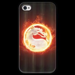 """Чехол для iPhone 4 глянцевый, с полной запечаткой """"Mortal Kombat"""" - огонь, логотип, mortal kombat, fire, лого, фон, бамбук, комбат"""