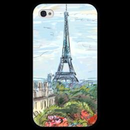 """Чехол для iPhone 4 глянцевый, с полной запечаткой """"Эйфелева башня"""" - графика, франция, париж, эйфелева башня"""