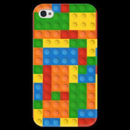 """Чехол для iPhone 4 глянцевый, с полной запечаткой """"Конструктор Лего"""" - рисунок, детский, игрушка, конструктор, лего"""