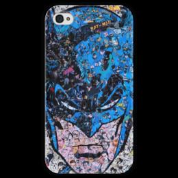 """Чехол для iPhone 4 глянцевый, с полной запечаткой """"Бэтмен"""" - комиксы, dc, dc comics, batman"""