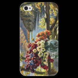 """Чехол для iPhone 4 глянцевый, с полной запечаткой """"Цветы на фоне озера"""" - картина, вещилов"""