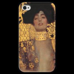 """Чехол для iPhone 4 глянцевый, с полной запечаткой """"Джудит I (Judith I)"""" - картина, климт"""