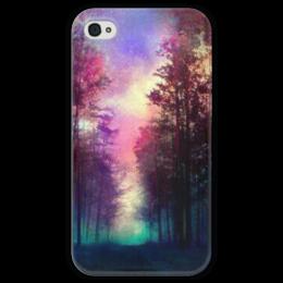 """Чехол для iPhone 4 глянцевый, с полной запечаткой """"космос"""" - лес, sky, forest, sunrise"""