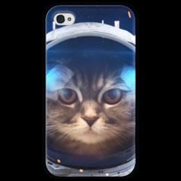 """Чехол для iPhone 4 глянцевый, с полной запечаткой """"Котосмонавт"""" - кот, космос, животное, костюм"""