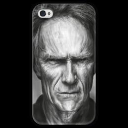 """Чехол для iPhone 4 глянцевый, с полной запечаткой """"Клинт Иствуд / Clint Eastwood"""" - кино, портрет, clint eastwood, клинт иствуд"""