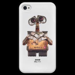 "Чехол для iPhone 4 глянцевый, с полной запечаткой ""Walle / Валли"" - робот, валли, walle, kinoart"