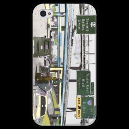 """Чехол для iPhone 4 глянцевый, с полной запечаткой """"Американский хайвей"""" - сша, путешествия, шоссе, дороги, хайвеи"""