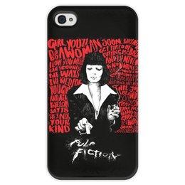 """Чехол для iPhone 4 глянцевый, с полной запечаткой """"Pulp Fiction (Ума Турман)"""" - культовое кино, mia, тарантино, ума турман, криминальное чтиво"""
